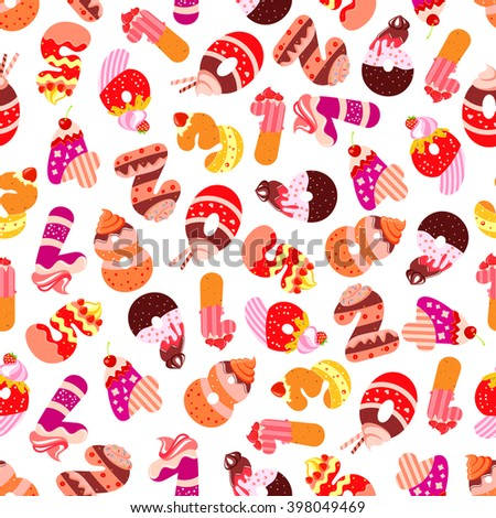 Sweet numbers seamless pattern with digits composed of tiered cakes and fruity desserts, chocolate cookies adorned by cream and fruits. Childish room interior or birthday celebration design - stock vector