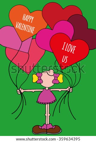 Sweet original Valentines Day greeting card with happy smiling girl in a pink dress holding six orange, red and pink balloons with sweet text about love. Hand drawn stock vector illustration. - stock vector