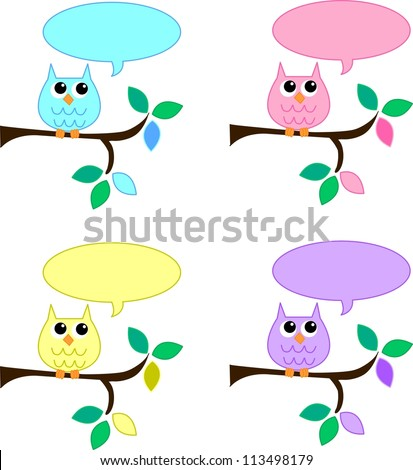 sweet owls with speech bubbles