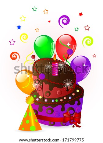Sweet party cake with balloons, ribbons, candle...