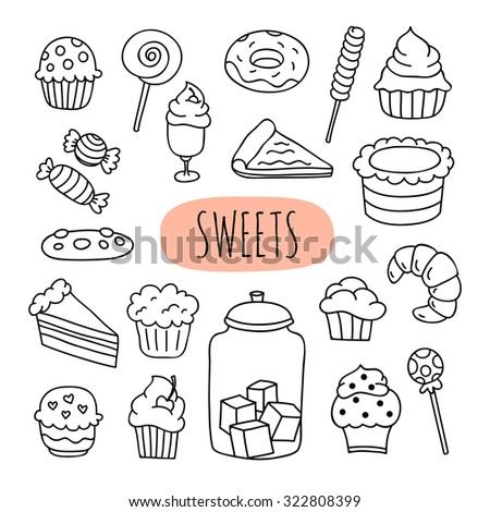 Sweet pastry, cakes, cupcakes, pies, tarts, candy. Hand drawn dessert icons on white background for cafe and menu - stock vector