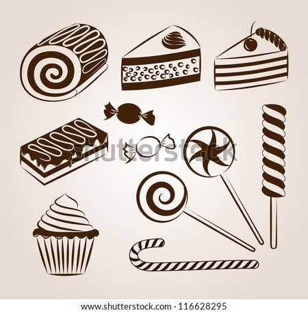 Sweet pastry collection - stock vector