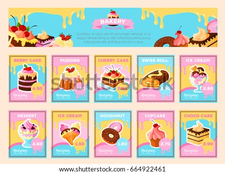 sweet pastry desserts price cards menu stock vector 664922461