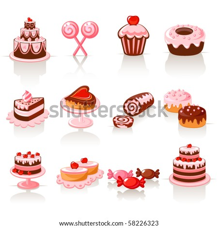 Sweet pastry icons - stock vector