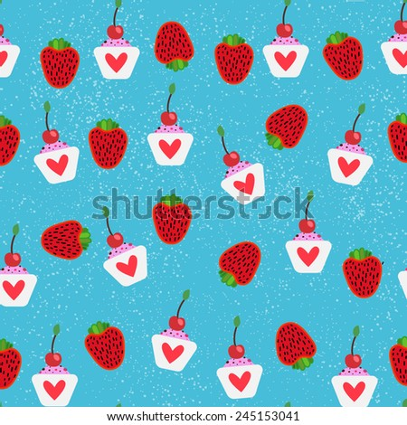 Sweet pattern with cupcakes and strawberry. Vector illustration. - stock vector