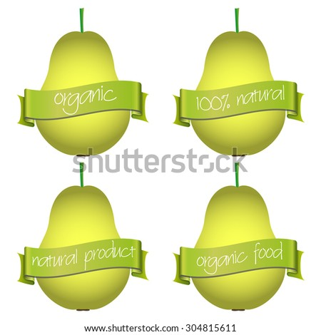 sweet pears with organic and natural banners eps10 - stock vector