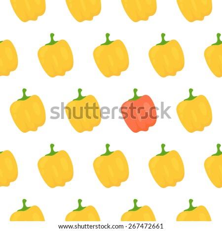 Sweet pepper seamless pattern. Vector illustration - stock vector
