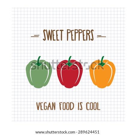sweet peppers, vector format - stock vector