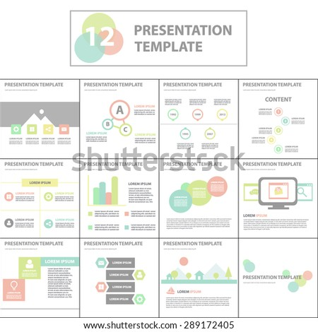 Sweet Pink Green Blue Multipurpose presentation template brochure flyer flat design set - stock vector
