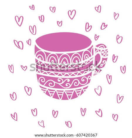 Sweet Pink Tea And Coffee Mug Doodle Vector Illustration Hearts At The Background Outline