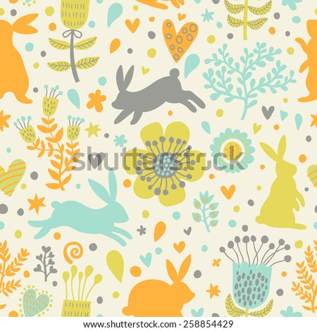 Sweet rabbits in hearts and flowers. Cute childish seamless pattern in cartoon style. Seamless pattern can be used for wallpapers, pattern fills, web page backgrounds, surface textures - stock vector