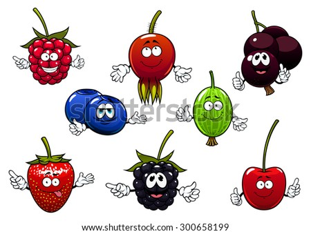 Sweet raspberry, strawberry, currants, cherry, blackberry, gooseberry, blueberry and briar fruits cartoon characters isolated on white.  For agriculture or fresh healthy food design - stock vector