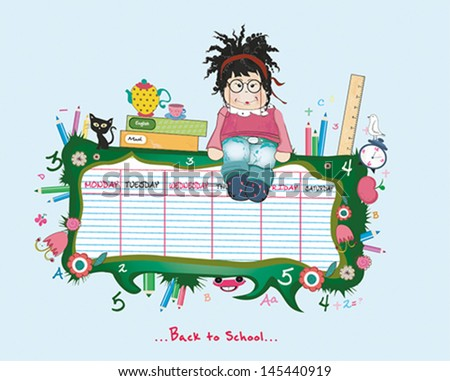 sweet schedules with a girl. Vector illustration - stock vector