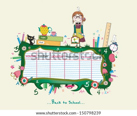 sweet schedules with a girl. Vector illustration