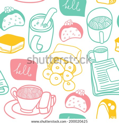 Sweet seamless pattern. Vector background with cute dessert elements. Good for kitchen and cafe stuff - stock vector