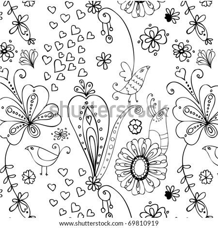 sweet seamless pattern with birds and flowers - stock vector