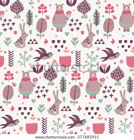 Sweet seamless pattern with birds swallows, rabbits, bear and leafs with flowers. Lovely floral background with cute animals and birds in popular colors in vector - stock vector