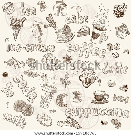 Sweet seamless pattern with drinks and sweets - stock vector