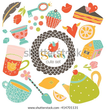 Sweet set. Teatime. Retro vector. - stock vector
