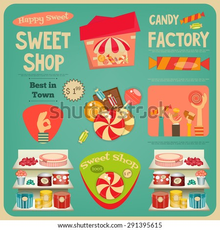 Sweet Shop Card. Advertising Candy Store. Vector Illustration. - stock vector