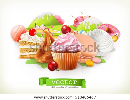 Sweet shop. Confectionery and desserts, cake, cupcake, candy, caramel. 3d vector illustration