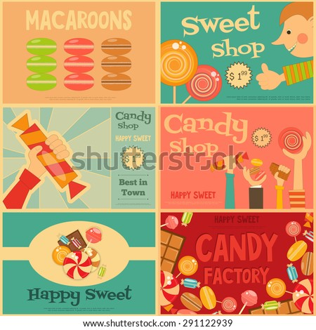 Sweet Shop Mini Posters Set in Retro Style. Advertising Candy Store. Layered file. Vector Illustration. - stock vector