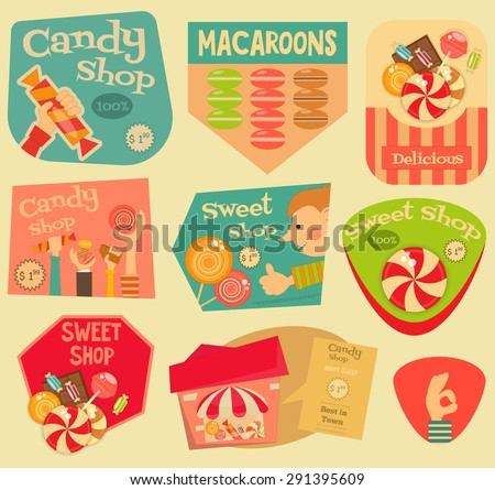 Sweet Shop Stickers Set in Retro Style. Advertising Candy Store. Layered file. Vector Illustration. - stock vector