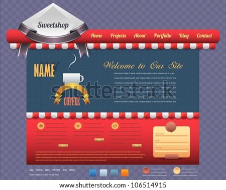Sweet Shop Style Website design vector elements - stock vector