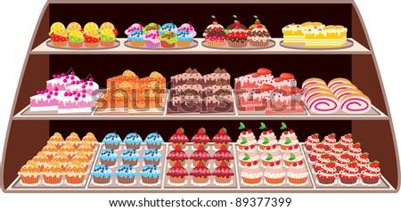 Sweet shop. vector, color full, no gradient - stock vector