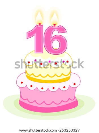 Sweet sixteen layered birthday cake with numeral candles isolated on white - stock vector