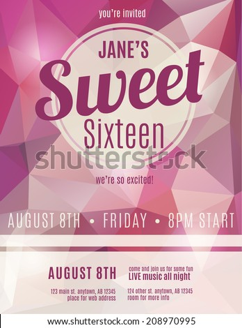 Sweet sixteen party invitation flyer template design - stock vector