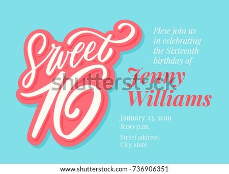 Sweet 16 Sixteenth Birthday Invitation Template Stock Vector ...