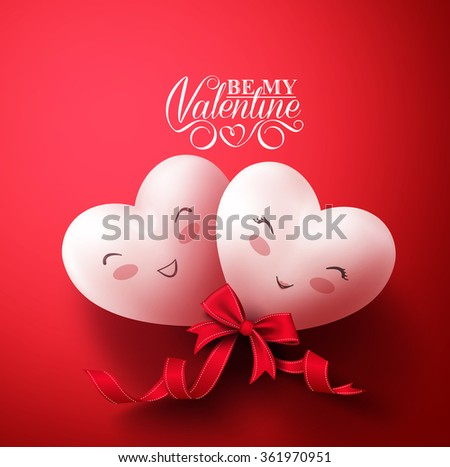 Sweet Smiling Hearts of Happy Lovers for Happy Valentines Day Greetings in Red Background with Ribbon. Vector Illustration  - stock vector