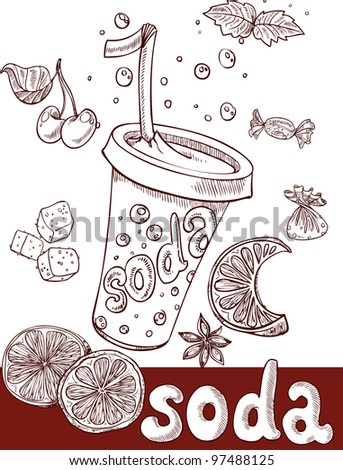 sweet soda with fruit and sweets. handwriting - stock vector