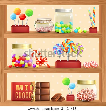 Sweet store shelf with bonbons chocolate and lollipops vector illustration - stock vector