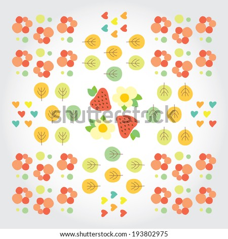 Sweet summer pattern with green trees, red strawberries, flowers and hearts. Modern flat vector illustration with place for text.  - stock vector