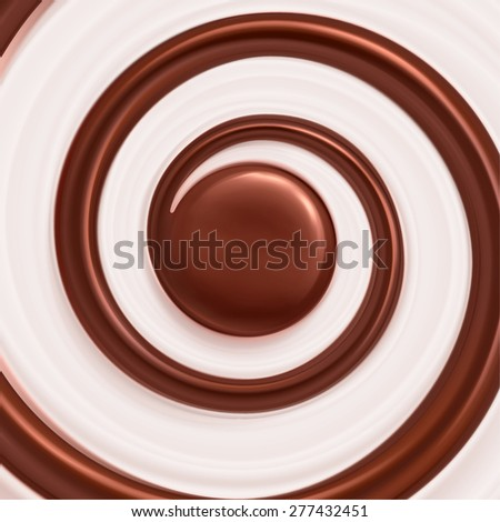 Sweet swirl background, cream and chocolate, eps 10 - stock vector