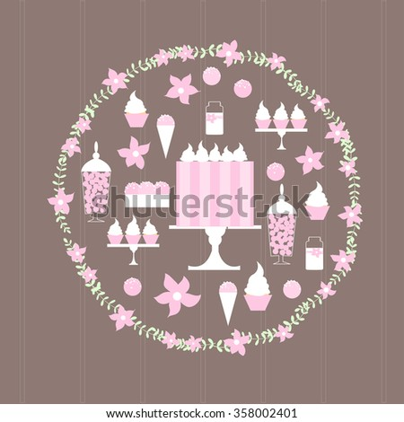 Sweet table with cake  in round frame. Vector illustration.