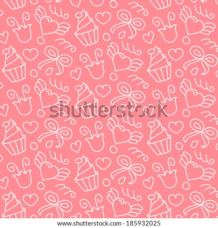 Sweet vector seamless pattern with hearts, cupcakes, flowers, bows. Cute girlish   hand drawn background. Endless texture gentle color, can be used for wallpaper, website background, textile printing. - stock vector