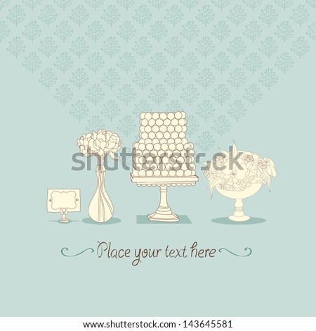 Sweet vector wedding cake illustration - stock vector
