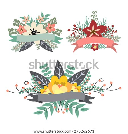 Sweet vintage floral bunch with ribbon banner elements for greeting card, wedding invitation, tags - stock vector