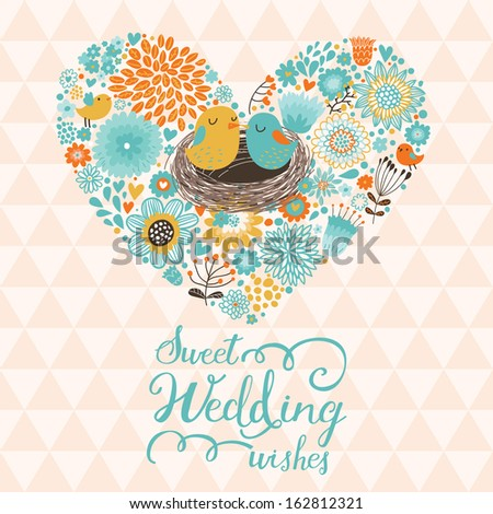 Sweet wedding wishes. Cute Save the Date card in vector. Cartoon birds in love on stylish heart made of flowers  - stock vector