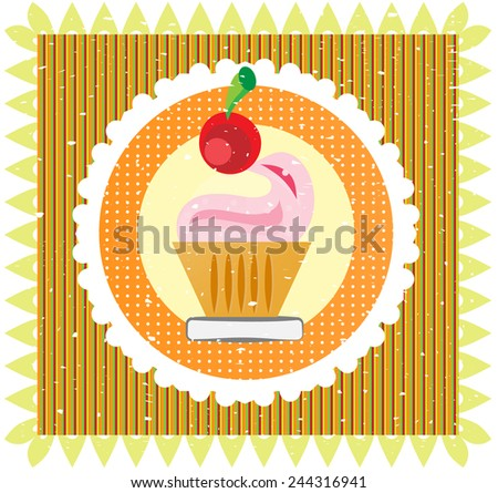 Sweet with cherry on colorful striped background, white lace - stock vector
