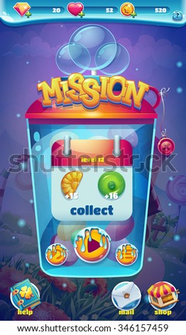 Sweet world mobile game user interface GUI mission collect window - stock vector