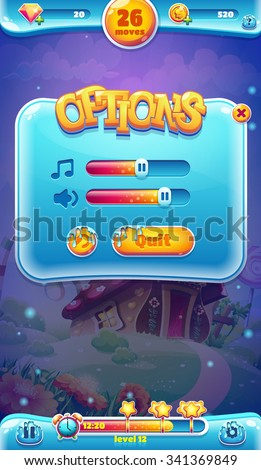 Sweet world mobile game user interface GUI sound volume screen for video web design - stock vector