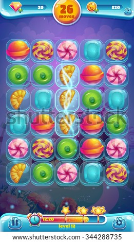 Sweet world mobile GUI playing field - stock vector