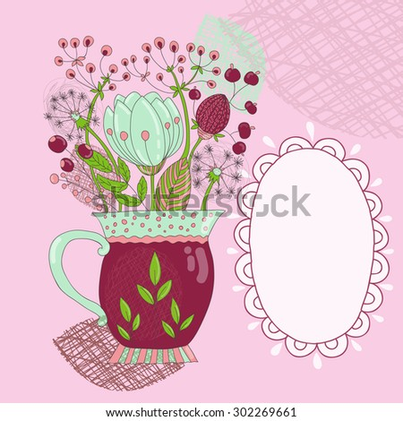 Sweetheart card with cartoon bouquet of flowers in a purple bowl on a pink background.