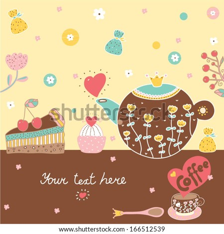 Sweetheart postcard with sweets and coffe.