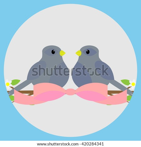 Sweethearts on a branch icon. Valentine and wedding,  valentines day and love couple, bird on branch and sweetheart love. Vector flat design illustration - stock vector