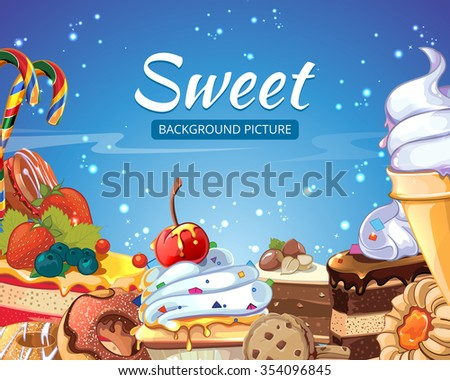 Sweets  abstract background candy, cakes, donuts and lollipops. Dessert chocolate and ice cream, tasty cupcake, vector illustration - stock vector